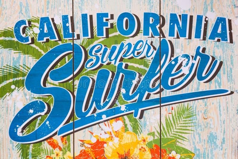 Stampa eccellente del surfista di California su una parete fotografia stock