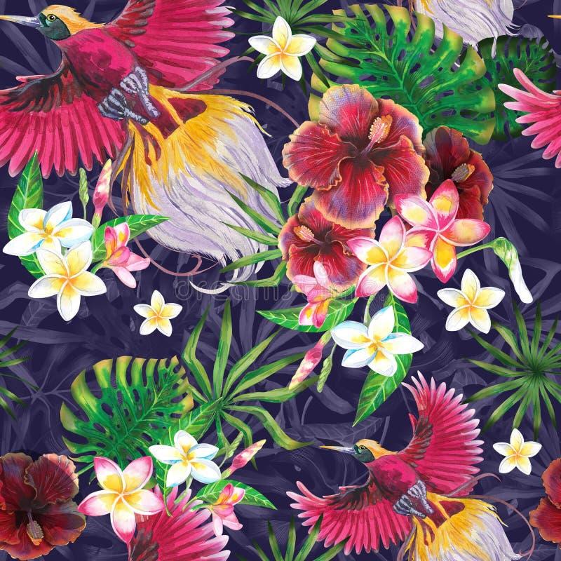 Stampa esotica di estate con il fenicottero e le foglie tropicali Impronta digitale Stile dell'acquerello illustrazione di stock
