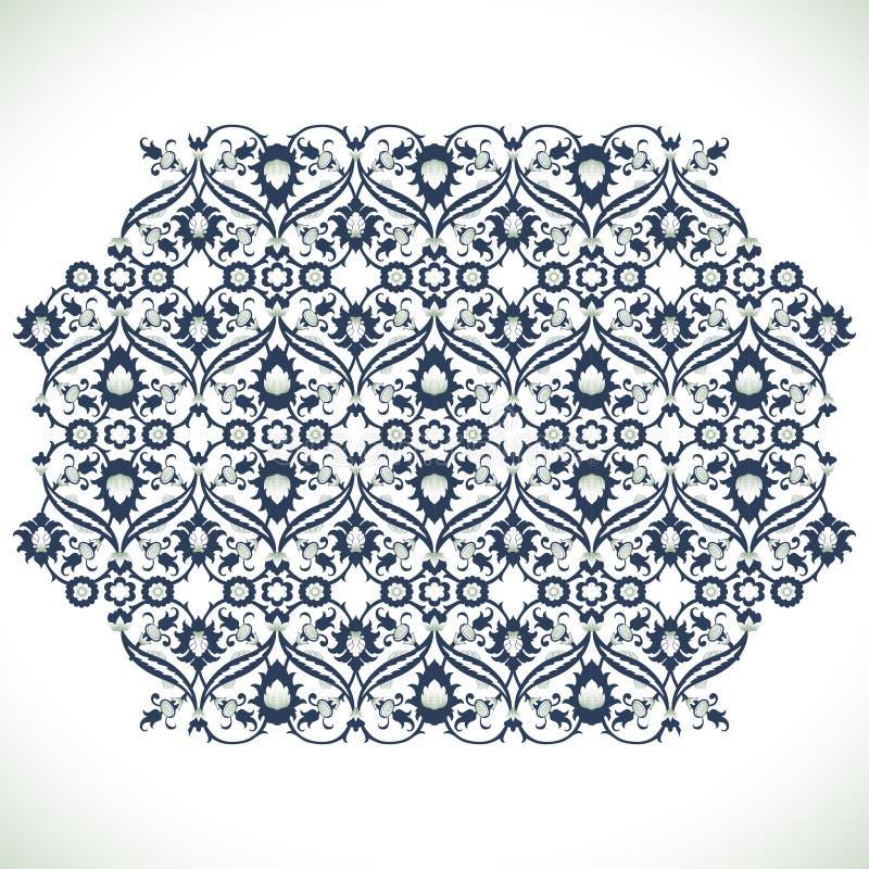 Stampa floreale del pizzo della decorazione del damasco d'annata di arabesque per progettazione illustrazione vettoriale