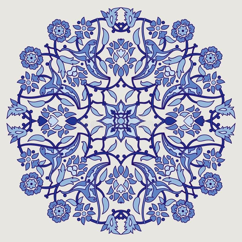 Stampa floreale elegante d'annata della decorazione di arabesque per il tem di progettazione illustrazione vettoriale