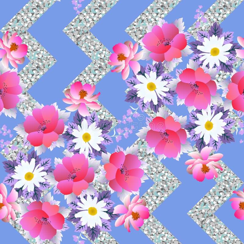 Stampa floreale senza cuciture per tessuto Mazzi dei fiori del giardino sul fondo d'argento di zigzag di luccichio Progettazione  illustrazione vettoriale