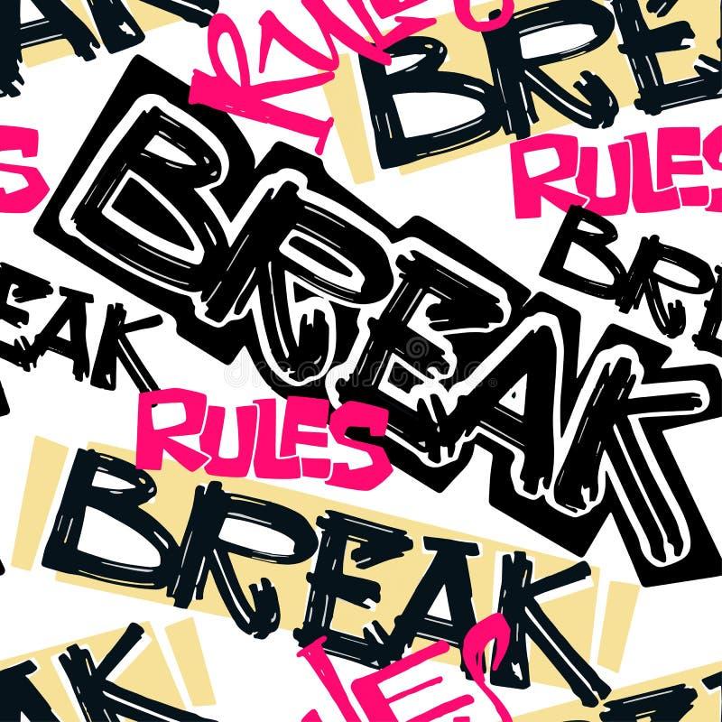 Stampa funky di motivazione delle ragazze della maglietta dei pantaloni a vita bassa nei graffiti s urbana illustrazione vettoriale