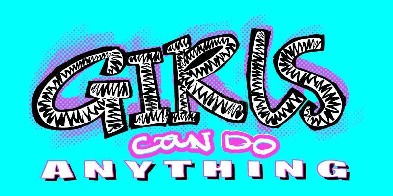 Stampa funky di motivazione delle ragazze della maglietta dei pantaloni a vita bassa nei graffiti urbani illustrazione di stock