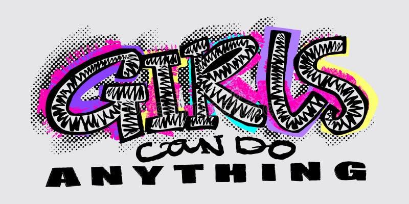 Stampa funky di motivazione delle ragazze della maglietta dei pantaloni a vita bassa nei graffiti urbani illustrazione vettoriale