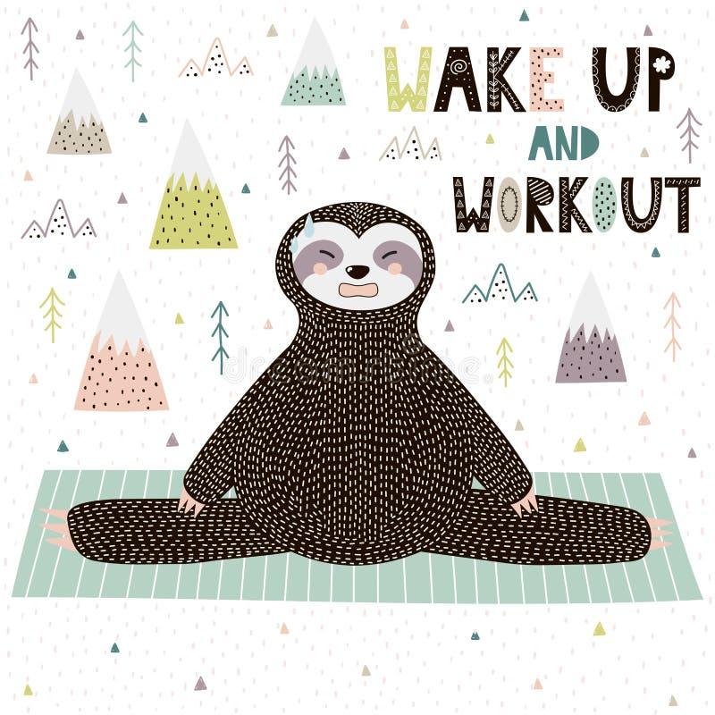 Stampa motivazionale di allenamento e svegli con il bradipo divertente che fa l'yoga royalty illustrazione gratis