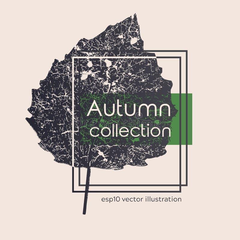 Stampa nera invecchiata senza cuciture delle foglie di autunno Illustrazione monocromatica di vettore su fondo leggero Modello fl illustrazione vettoriale