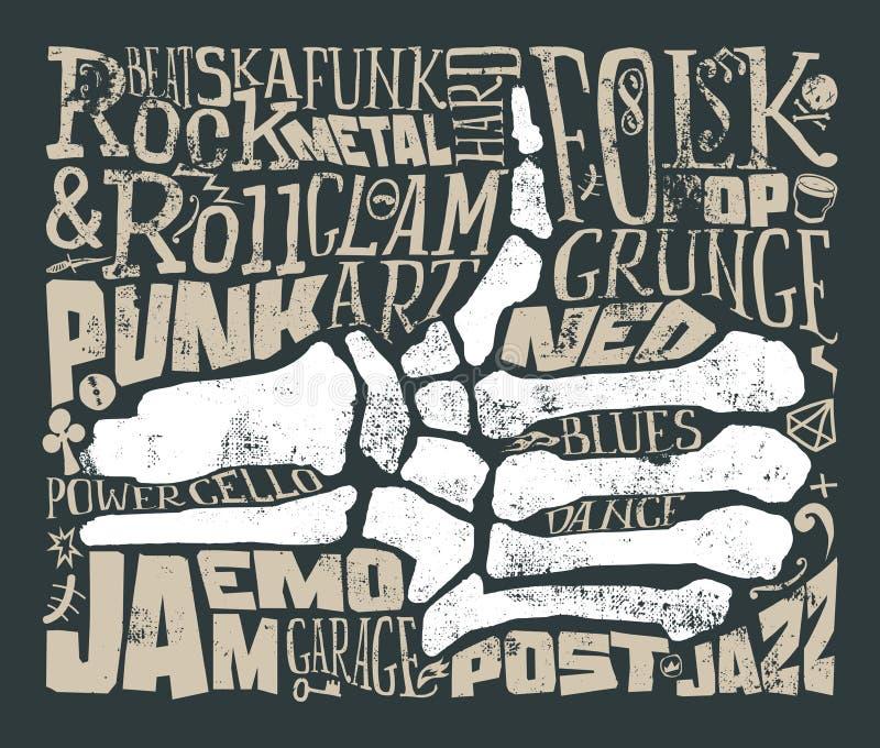 Stampa per la maglietta Musica rock grunge Illustrazione di vettore illustrazione vettoriale