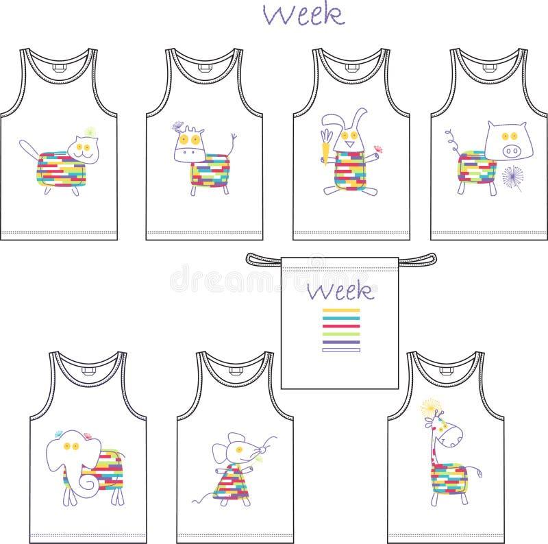 Stampa per le magliette dei bambini per 7 giorni - la settimana ha una serie di 7 animali illustrazione di stock