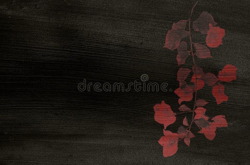 Stampa rossa del fiore sul documento nero della noce di cocco illustrazione di stock