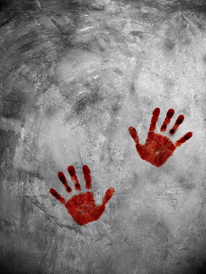 Stampa sanguinante della mano sulla parete del cemento illustrazione vettoriale