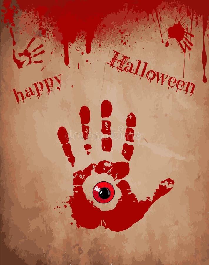 Stampa sanguinosa della mano con l'occhio rosso dentro sui vecchi precedenti di carta illustrazione vettoriale