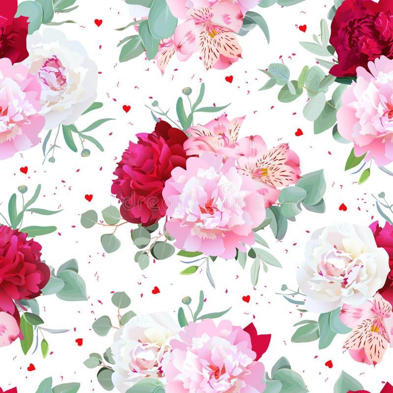 Stampa senza cuciture floreale romantica di vettore con la peonia, giglio di alstroemeria, eucaliptus della menta su bianco illustrazione di stock