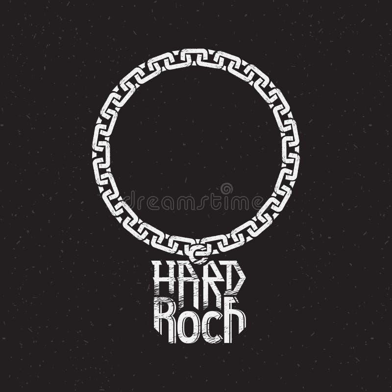 Stampa sulla camicia o sul manifesto di hard rock illustrazione di stock