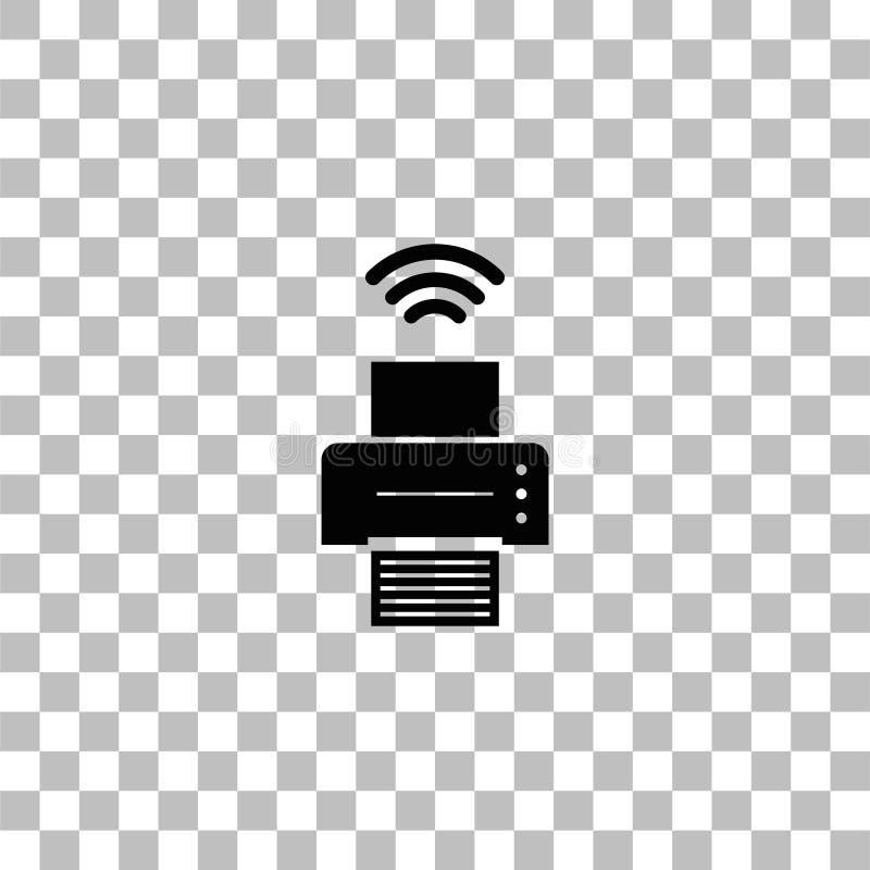 Stampante con l'icona del collegamento di Wi-Fi pianamente royalty illustrazione gratis