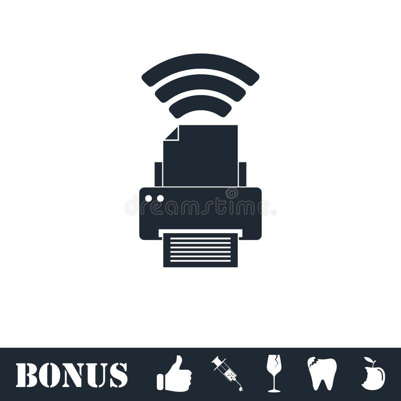 Stampante con l'icona del collegamento di Wi-Fi pianamente illustrazione vettoriale
