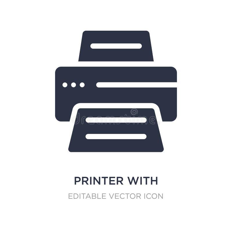 stampante con l'icona di carta scritta su fondo bianco Illustrazione semplice dell'elemento dal concetto degli utensili e degli s illustrazione vettoriale
