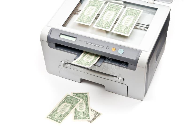Stampante e dollari fotografie stock
