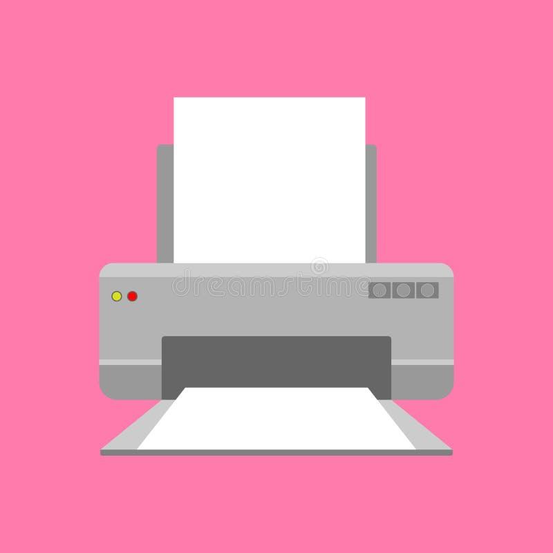 Stampante moderna con carta Icona o concetto di simbolo Illustrazione piana di vettore di stile illustrazione vettoriale