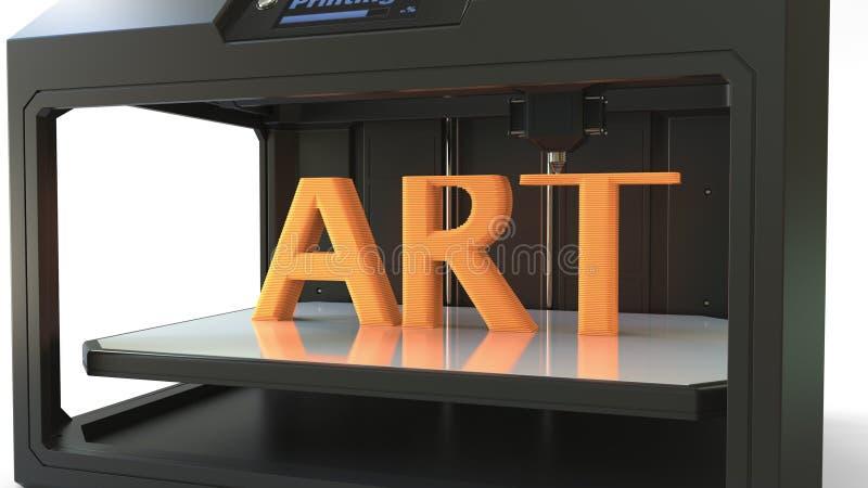 Stampante moderna 3D nell'azione Stampando parola arancio di ARTE, rappresentazione 3D immagine stock libera da diritti