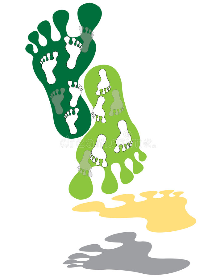 Stampe del piede illustrazione di stock