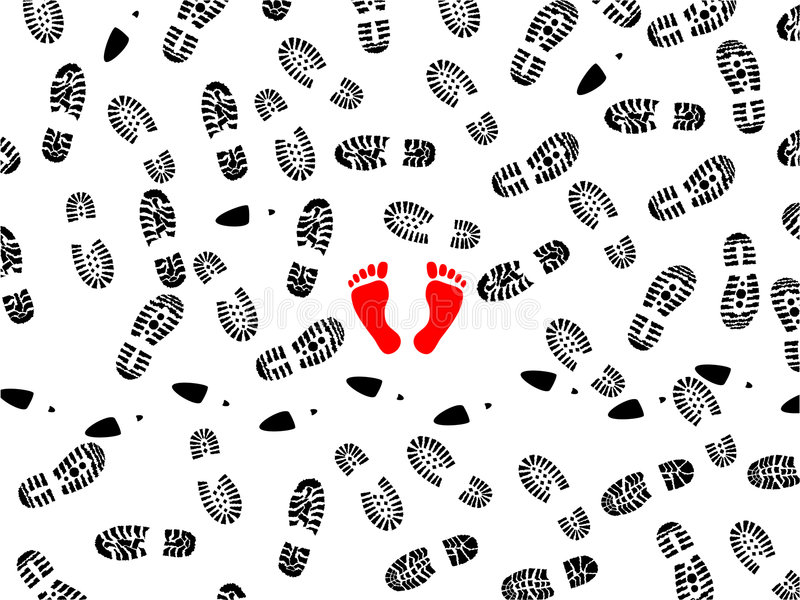 Stampe del piede illustrazione vettoriale