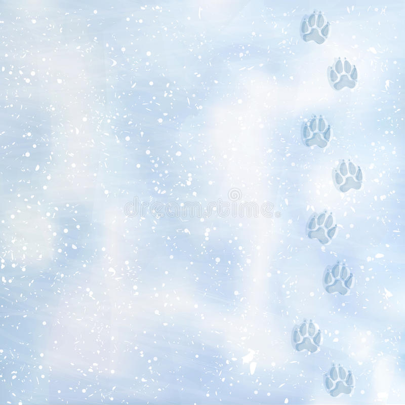 Stampe del piede animale ad un nevoso Piste nella neve Orme del cane nella neve Struttura della superficie della neve Vettore illustrazione di stock