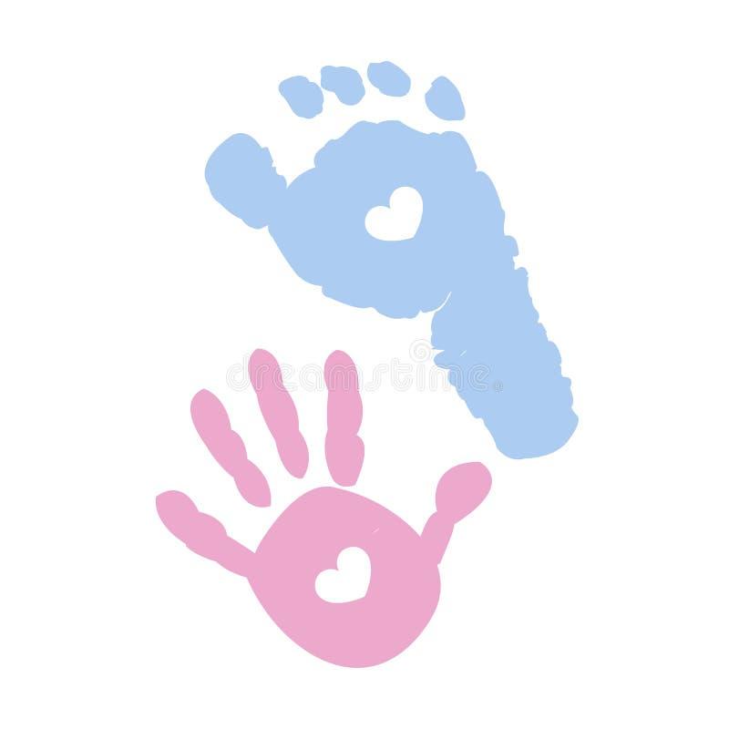 Stampe del piede del bambino e della mano del bambino Blu e rosa colorati con i cuori illustrazione vettoriale