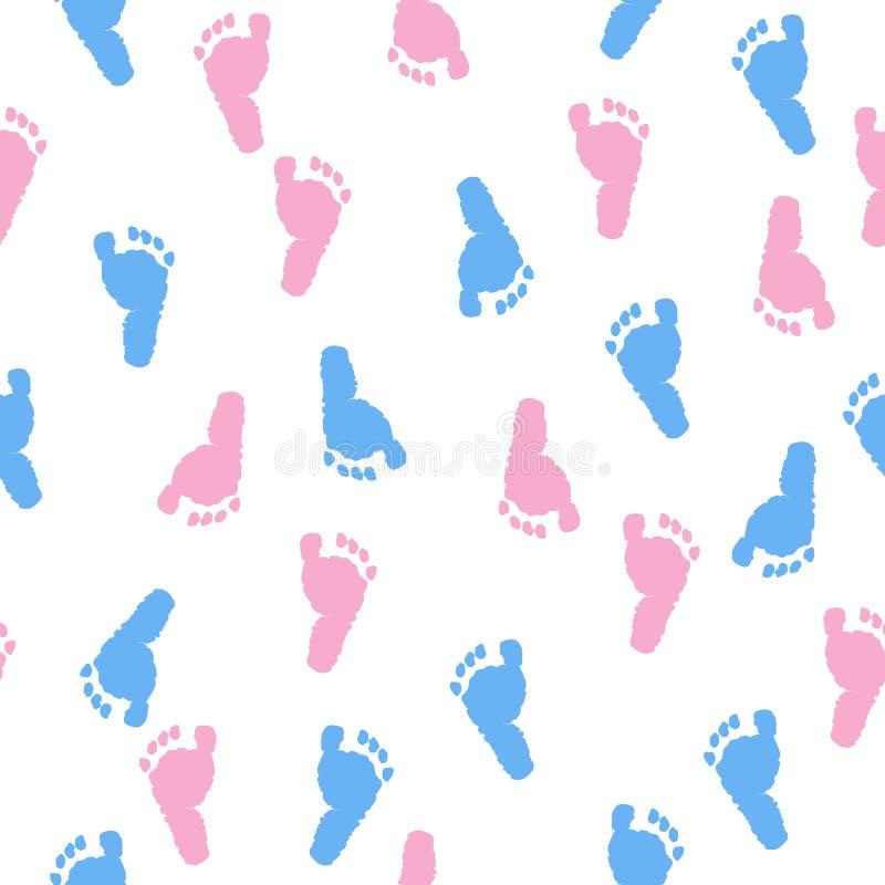 Stampe del piede del bambino Fondo della doccia di bambino Modello blu e rosa del piede illustrazione vettoriale