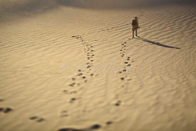"""Stampe del piede e un esploratore nella sabbia nello stile della sfuocatura Fotografia dello spostamento di Tilt†"""" fotografia stock libera da diritti"""