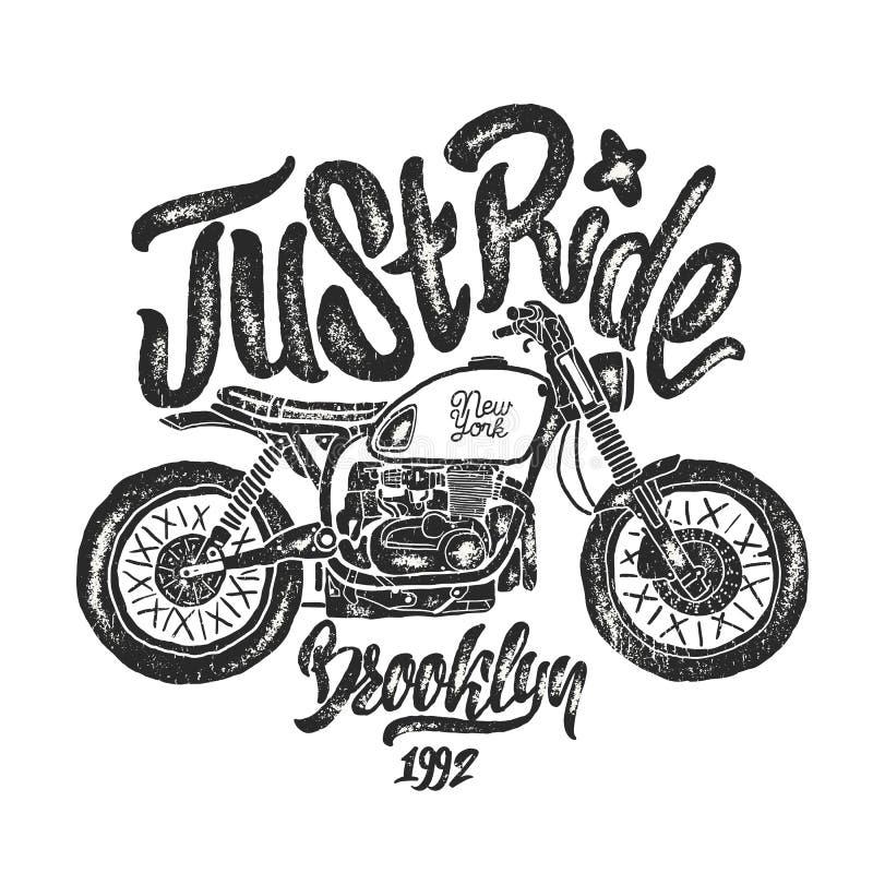 Stampe della maglietta di Brooklyn del motociclo di schizzo dell'illustrazione illustrazione vettoriale