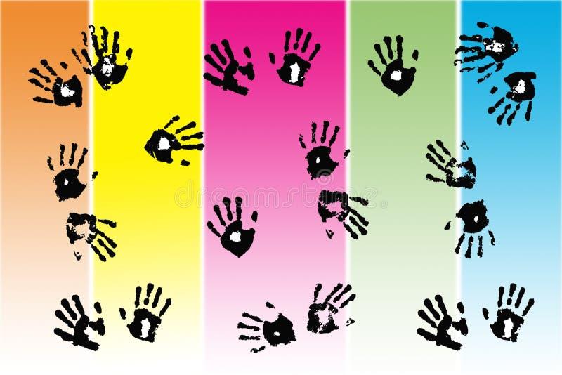 Stampe della mano nera fatte dai bambini illustrazione di stock