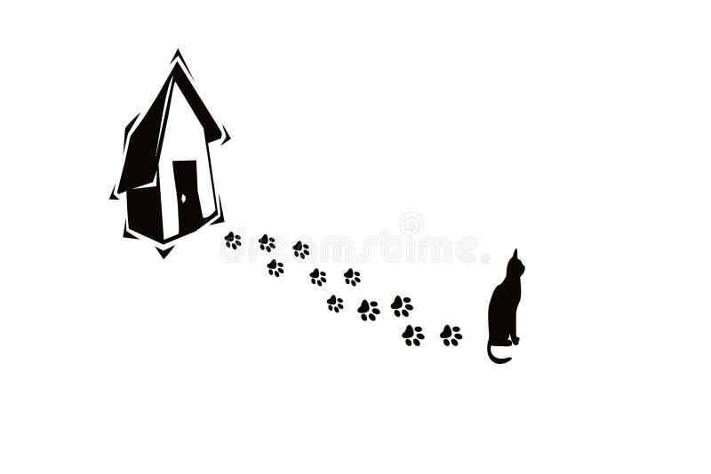 Stampe della zampa e del gatto illustrazione di stock