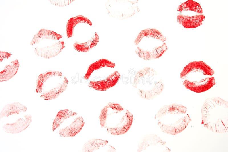 Stampe delle labbra su fondo fotografia stock