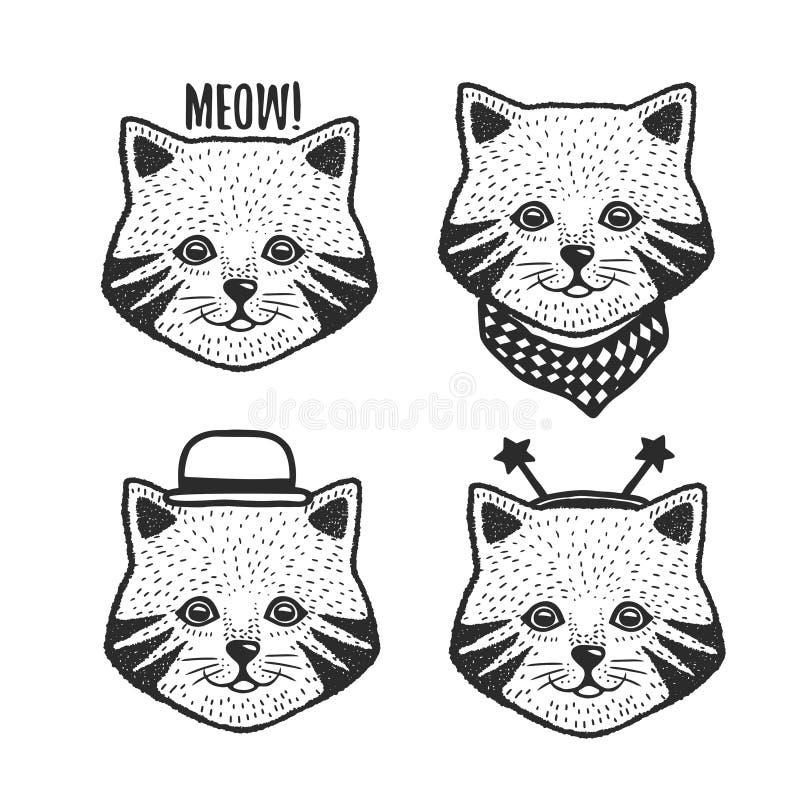 Stampe disegnate a mano della testa del gatto del fumetto messe Illustrazione dell'annata di vettore royalty illustrazione gratis
