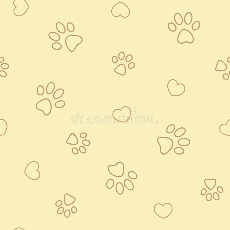 Stampe e cuori della zampa sul modello senza cuciture beige illustrazione vettoriale