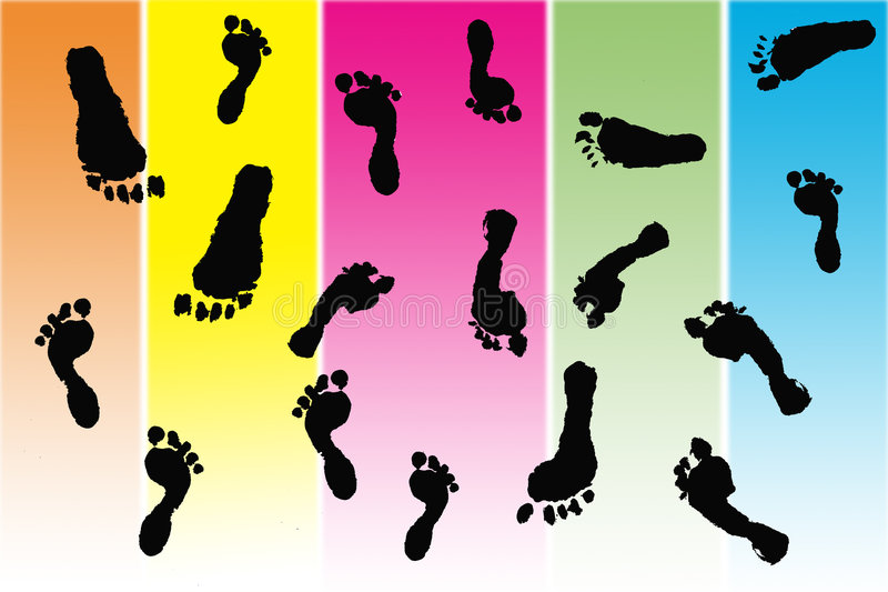 Stampe nere del piede fatte dai bambini illustrazione di stock
