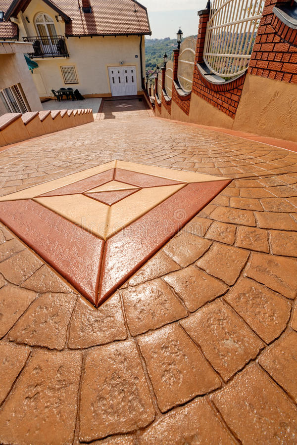 Stamped concrete. With different patterns and colors royalty free stock photography