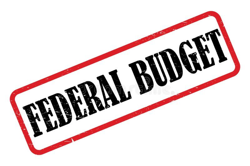 Federal budge heading. Stamped federal budget heading on white background stock illustration