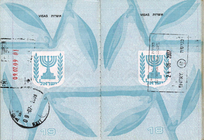 Stamped Israeli Passport. Stamped pages 18-19 of an Israeli passport. Good as background stock images