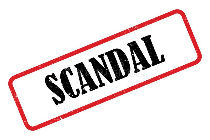 Scandal heading. Stamped scandal heading on white background vector illustration