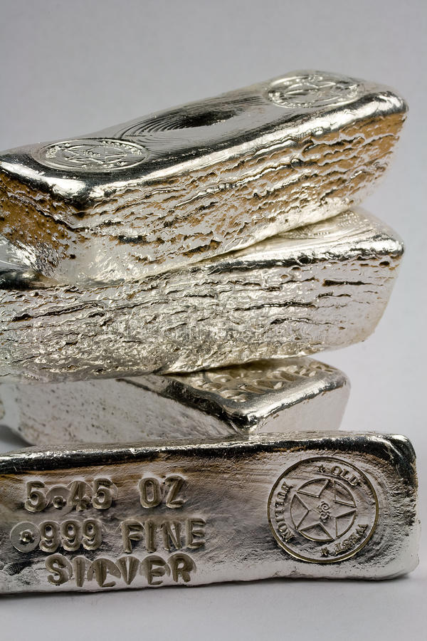 Stamped Silver Bullion Bars. (ingots) - Precious Metal stock image
