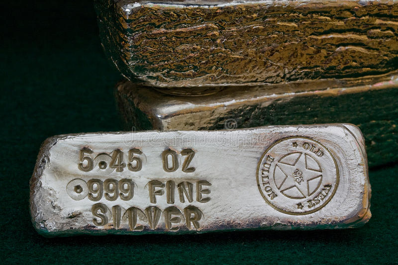 Stamped Silver Bullion Bars. (ingots) - Precious Metal royalty free stock image