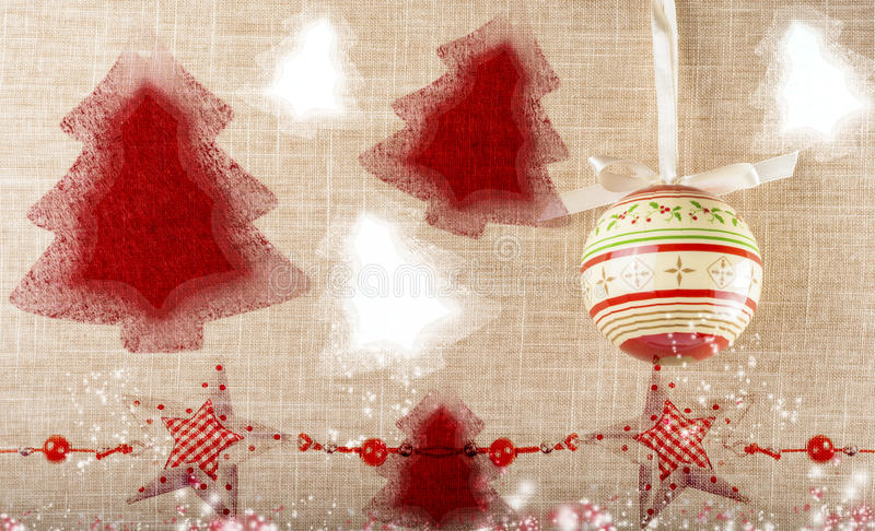 Stamped vintage red christmas trees stock image