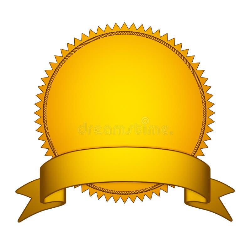Stamper золотого уплотнения с лентой золота иллюстрация вектора