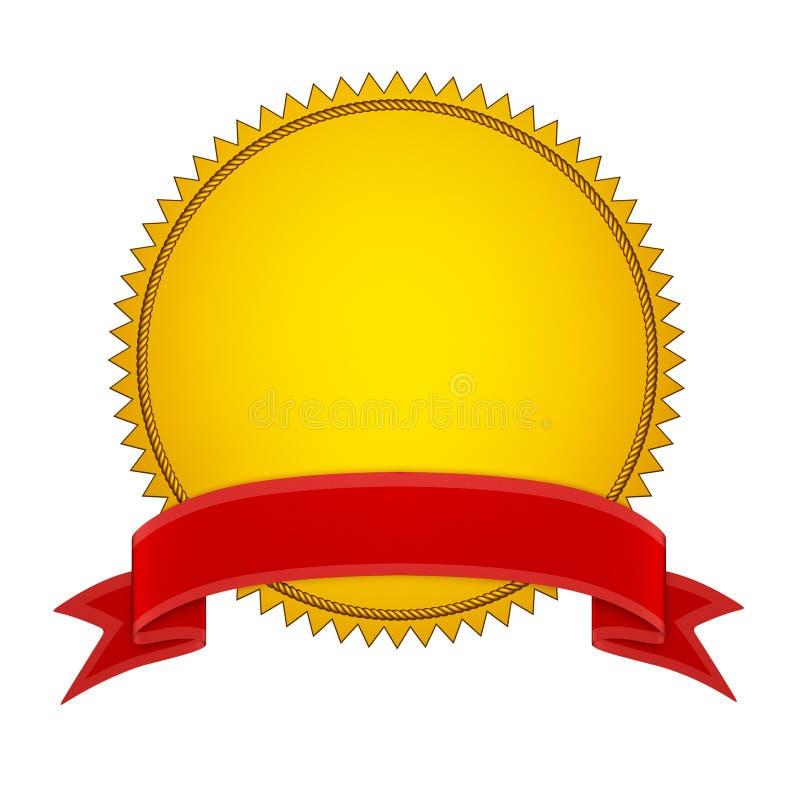 Stamper do selo do ouro com fita vermelha ilustração royalty free