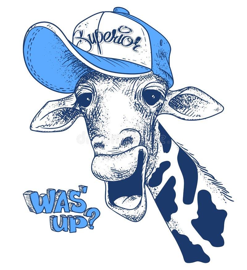 Stampi con le immagini della giraffa e mandi un sms a, effetto di lerciume, progettazione della maglietta illustrazione di stock