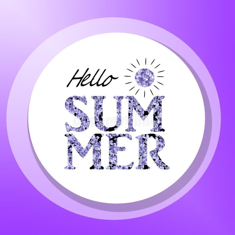 Stampi per la maglietta con l'estate del messaggio ciao sui precedenti bianchi Il lillà porpora fiorisce l'illustrazione royalty illustrazione gratis