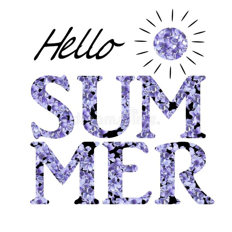 Stampi per la maglietta con l'estate del messaggio ciao sui precedenti bianchi Il lillà porpora fiorisce l'illustrazione illustrazione di stock