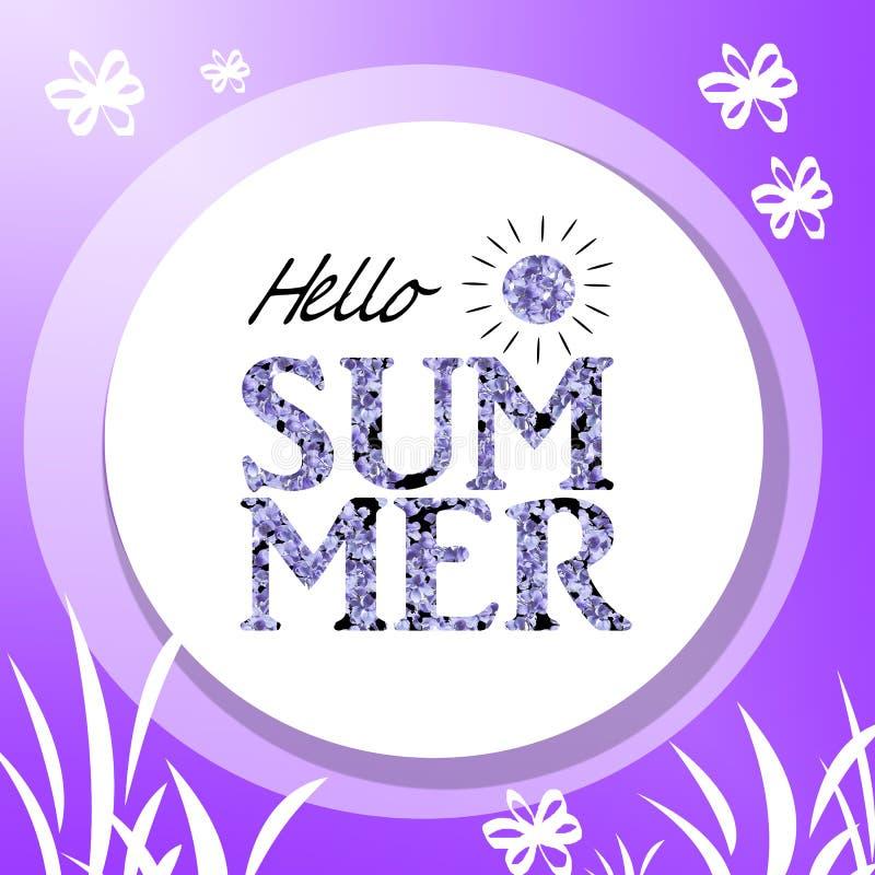 Stampi per la maglietta con l'estate del messaggio ciao sui precedenti bianchi Il lillà porpora fiorisce l'illustrazione illustrazione vettoriale