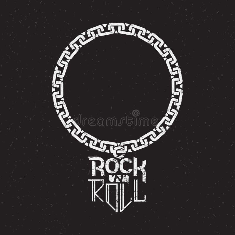 Stampi sulla camicia o sul manifesto del rotolo della roccia n illustrazione di stock